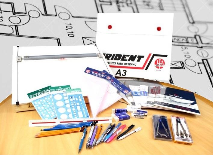 materiais para desenho tecnicos comprar barato lapiseira prancheta lapis gabarito escalimetro esquadro borracha caneta papel vegetal manteiga